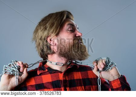 Man With Metal Chain On Neck. Freedom Concept. Bearded Man Hold Chain. Slave. People Problems. Suici