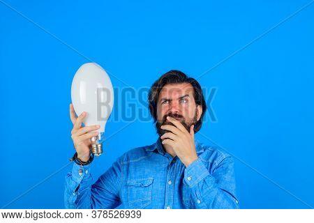 Idea. Man Thinking. Good Idea. Birth Of Ideas. Man With Lamp. Bearded Man Thinking
