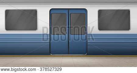 Subway Door, Metro Train On Empty Station Platform With Tiled Floor, Underground Carriage Exterior W