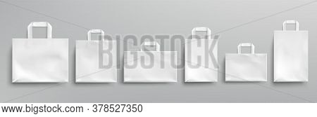 White Paper Eco Bags Different Shapes. Vector Realistic Mockup Of Blank Packets With Handles Isolate