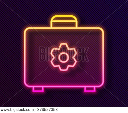 Glowing Neon Line Toolbox Icon Isolated On Black Background. Tool Box Sign. Vector Illustration