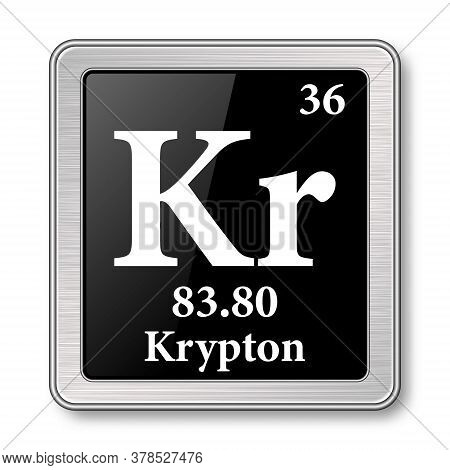 Krypton Symbol.chemical Element Of The Periodic Table On A Glossy Black Background In A Silver Frame