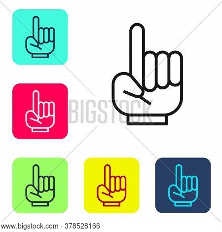 Black Line Number 1 One Fan Hand Glove With Finger Raised Icon Isolated On White Background. Symbol