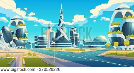 Future City, Futuristic Glass Buildings Of Unusual Shapes And Green Plants Along Empty Road. Modern