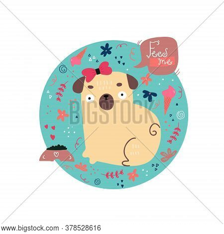Vector Illustration Of Little Cartoon Pug On White Background. Hand Drawn Doodle Of Cute Doggy With