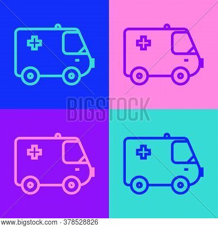 Pop Art Line Ambulance And Emergency Car Icon Isolated On Color Background. Ambulance Vehicle Medica