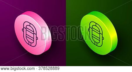 Isometric Line Rafting Boat Icon Isolated On Purple And Green Background. Inflatable Boat. Water Spo