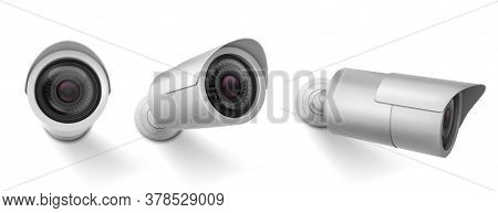 Security Camera In Different Views. Vector Realistic Set Of Cctv Cam, Watching System, Video Control