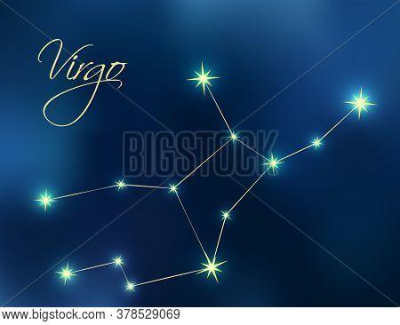 Virgo Constellation Astrology Vector Illustration. Stars In Dark Blue Night Sky. Virgo Zodiac Conste