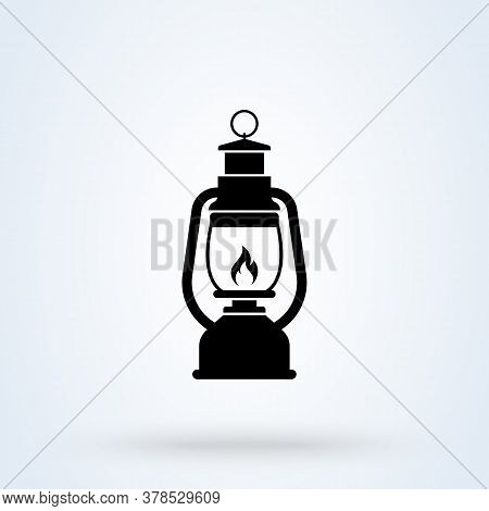 Camping Lanter Oil Lamp. Vector Simple Modern Icon Design Illustration.