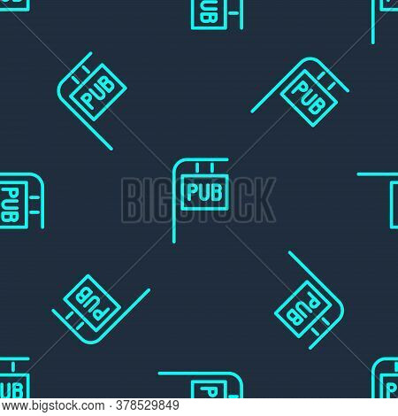 Green Line Street Signboard With Inscription Pub Icon Isolated Seamless Pattern On Blue Background.