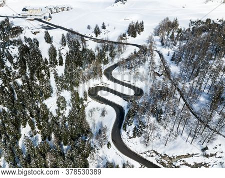 Curvy Road Like A Hair Pin At The Beginning Of Maloja Pass In The Swiss Alps, Canton Grison, Switzer