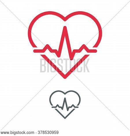 Heart With Electrocardiogram Pulse Graph. Cardiac Echo Symbol, Ecg Or Ekg Examination. Health Care C
