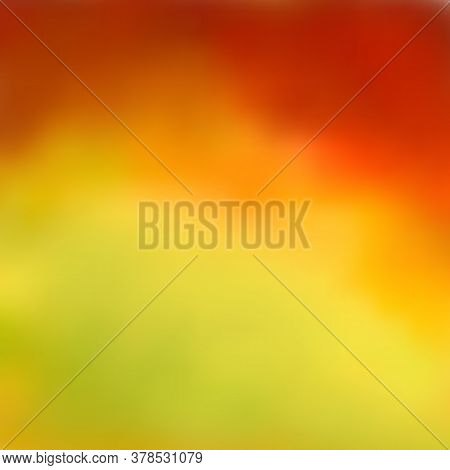 Bright Abstract Autumn Background, Beautiful Blurred Color Transition From Reds And Browns To Yellow