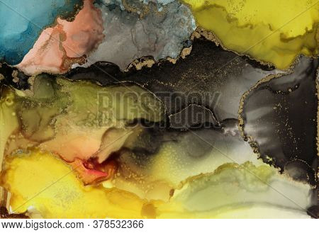Art Abstract painting blots background. Alcohol ink colors. Marble texture.