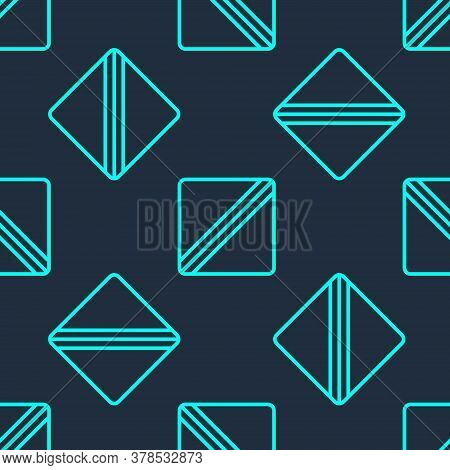 Green Line Sewing Pattern Icon Isolated Seamless Pattern On Blue Background. Markings For Sewing. Ve