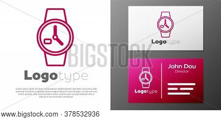 Logotype Line Wrist Watch Icon Isolated On White Background. Wristwatch Icon. Logo Design Template E