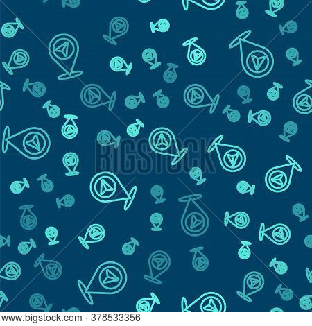 Green Line Map Pin Icon Isolated Seamless Pattern On Blue Background. Navigation, Pointer, Location,