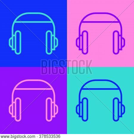 Pop Art Line Headphones Icon Isolated On Color Background. Support Customer Service, Hotline, Call C