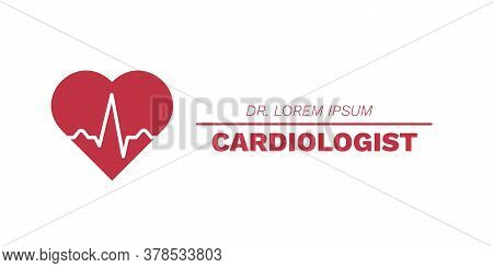 Cardiology Concept. Heart With Electrocardiogram Pulse Graph. Ekg Or Ecg Test Symbol. Health Care Cl