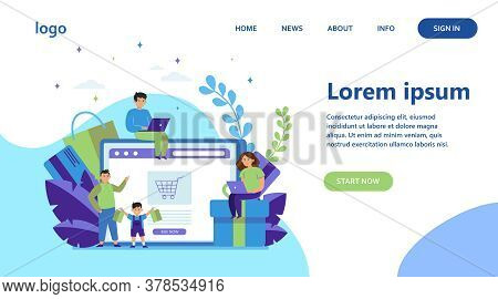 Happy People Shopping Online. Basket, Tablet, Customer Flat Vector Illustration. E-commerce And Digi
