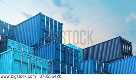 Stack of blue containers box, cargo freight ship for import export.