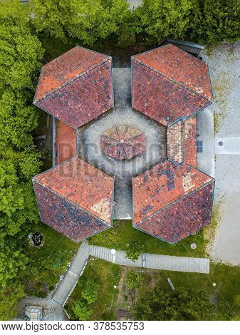 Roofs Of An Old House With Symmetric Design From Aerial View