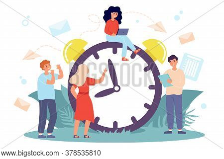 Tiny People Sitting On Huge Clock Isolated Flat Vector Illustration. Cartoon Multitasking Men And Wo