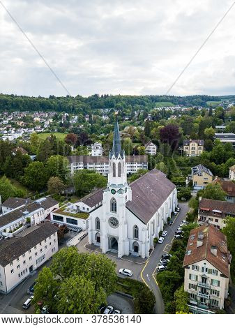 Aerial View Of The Catholic Church St. Maria In Schaffhasuen, Switzerland