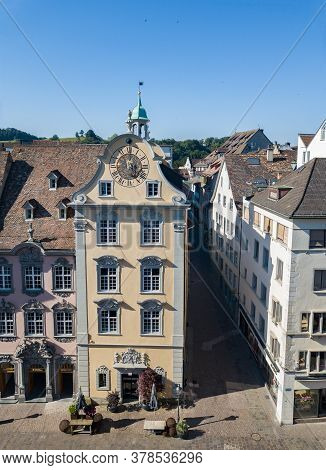 Schaffhausen, Switzerland - June 30.2019: The Fronwagplatz Square Of The Old Schaffhausen Town Cente