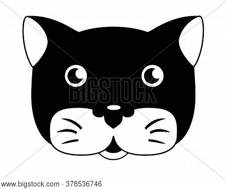 Cute Cat - Vector Black And White Illustration. Cat Head - Cute Picture, Baby, Smile. Cat For Logo O