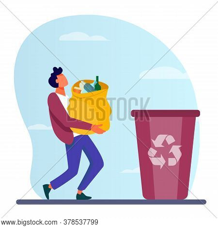 Young Guy Carrying Bag With Garbage To Trash Bin. Container, Rubbish, Junk Flat Vector Illustration.