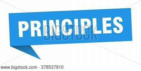 Principles Banner. Principles Speech Bubble. Blue Sign