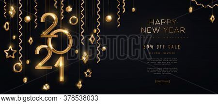 Christmas And New Year Banner With Hanging Gold 3d Baubles And 2021 Numbers On Black Background. Vec