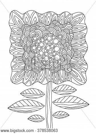 Fantasy Flower On Stem With Leaves Coloring Page Stock Vector Illustration. Blooming Unusual Flower