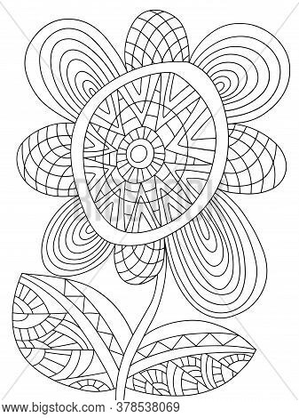 Fantasy Blossom Flower Coloring Page For Kids And Adults Stock Vector Illustration. Fairy Tail Assym