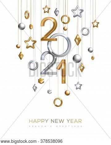 Christmas And New Year Banner With Hanging Gold And Silver 3d Baubles And 2021 Numbers On White Back