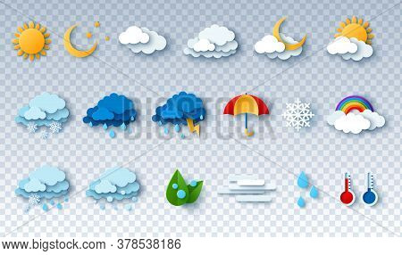 Paper Cut Weather Icons Set On Transparent Background. Vector Illustration. White Clouds, Dew On Lea