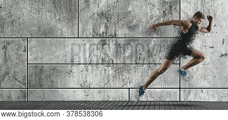 Sporty young man running on urban background. Sports banner. Shatter effect