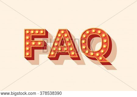 Faq Vector Lettering, Red Typography With Light Bulbs. Signboard Banner, Design Element. Casino Styl