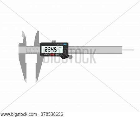 Electronic Caliper. Measuring Instrument On A White Background.