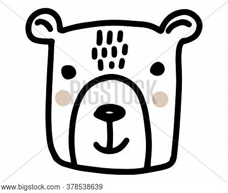 Bear Doodle. Hand Drawn Lines Cartoon Vector Illustration Isolated On White Background