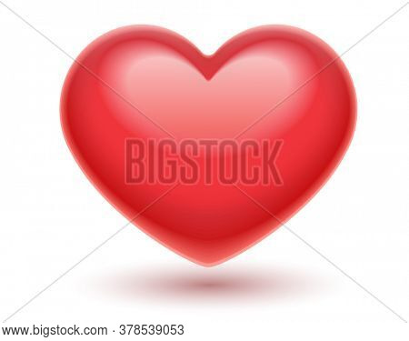 Red heart. Romantic symbol of love for Valentines day, Isolated on white transparent background. Illustration.