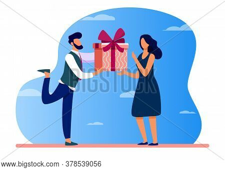 Bearded Man Giving Gift To Surprised Woman. Present, Boyfriend, Couple Flat Vector Illustration. Eve