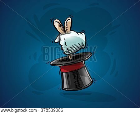 Magical focus trick. Cartoon hand of magician gets ears of hare rabbit from top hat cylinder. Hand drawn draft sketch, on blue background. Illustration.