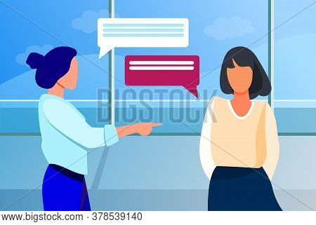 Woman Pointing To Girl And Talking With Her. Hand, Forefinger, Speech Bubble Flat Vector Illustratio