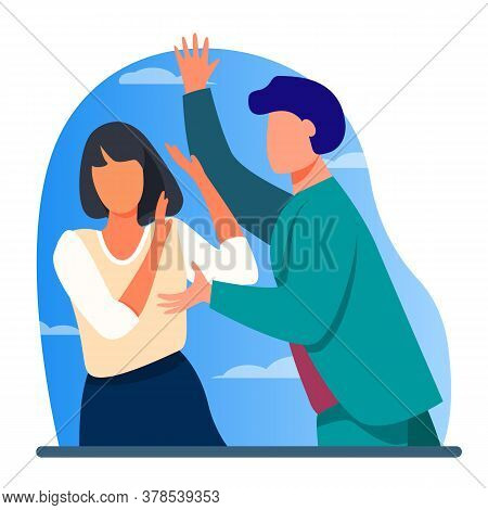 Angry Man Attacking Woman And Shouting At Her. Intimidation, Force, Anger Flat Vector Illustration.