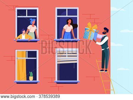Happy Beloved Man Giving Gift For Girlfriend. Ladder, Window, Present Flat Vector Illustration. Love