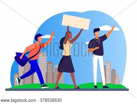 Young People With Banner At Social Meeting. Opinion, Crowd, Cityscape Flat Vector Illustration. Poli