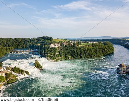 Aerial Panorama By Drone Of Rhine Falls With Schloss Laufen Castle, Switzerland. Rhine Falls Is The
